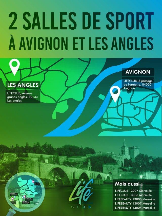 Plan salle de sport Avignon et Les Angles