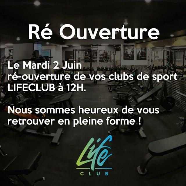Réouverture salle de sport LIFECLUB